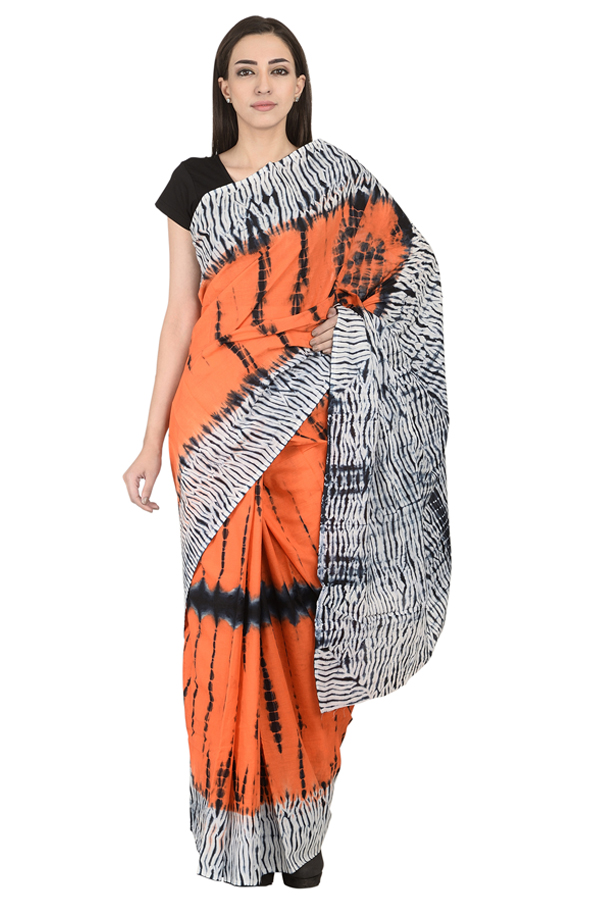 Orange-White and Black Cotton Shibori Print Saree-20104
