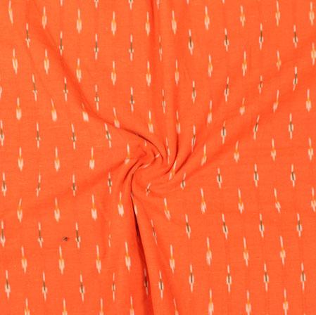 Orange White and Black Ikat Cotton Fabric-11036