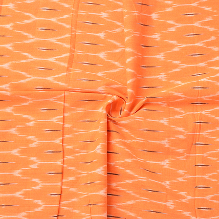 Orange-White and Black Zig Zag Design Ikat Cotton Fabric-12066