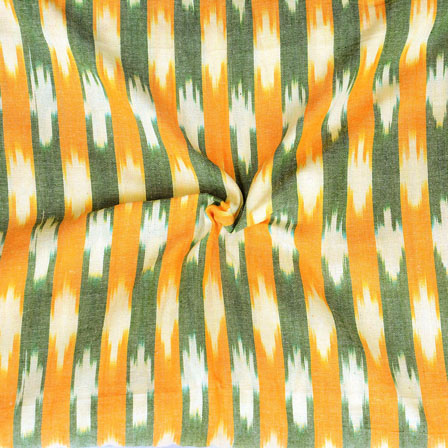 Orange White and Gray Ikat Cotton Fabric-12272