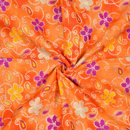 Orange White and Purple Floral Banglori Silk Print Fabric-12820