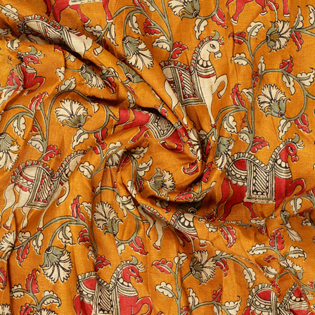 Orange-White and Red Horse Design Kalamkari Manipuri Silk Fabric-16267