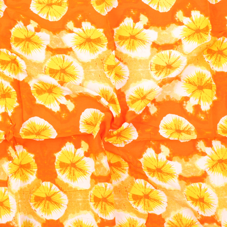 Orange-White and Yellow Circular Design Block Print Rayon Fabric-15057