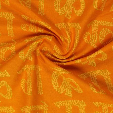 Orange Yellow Block Print Cotton Fabric-16055