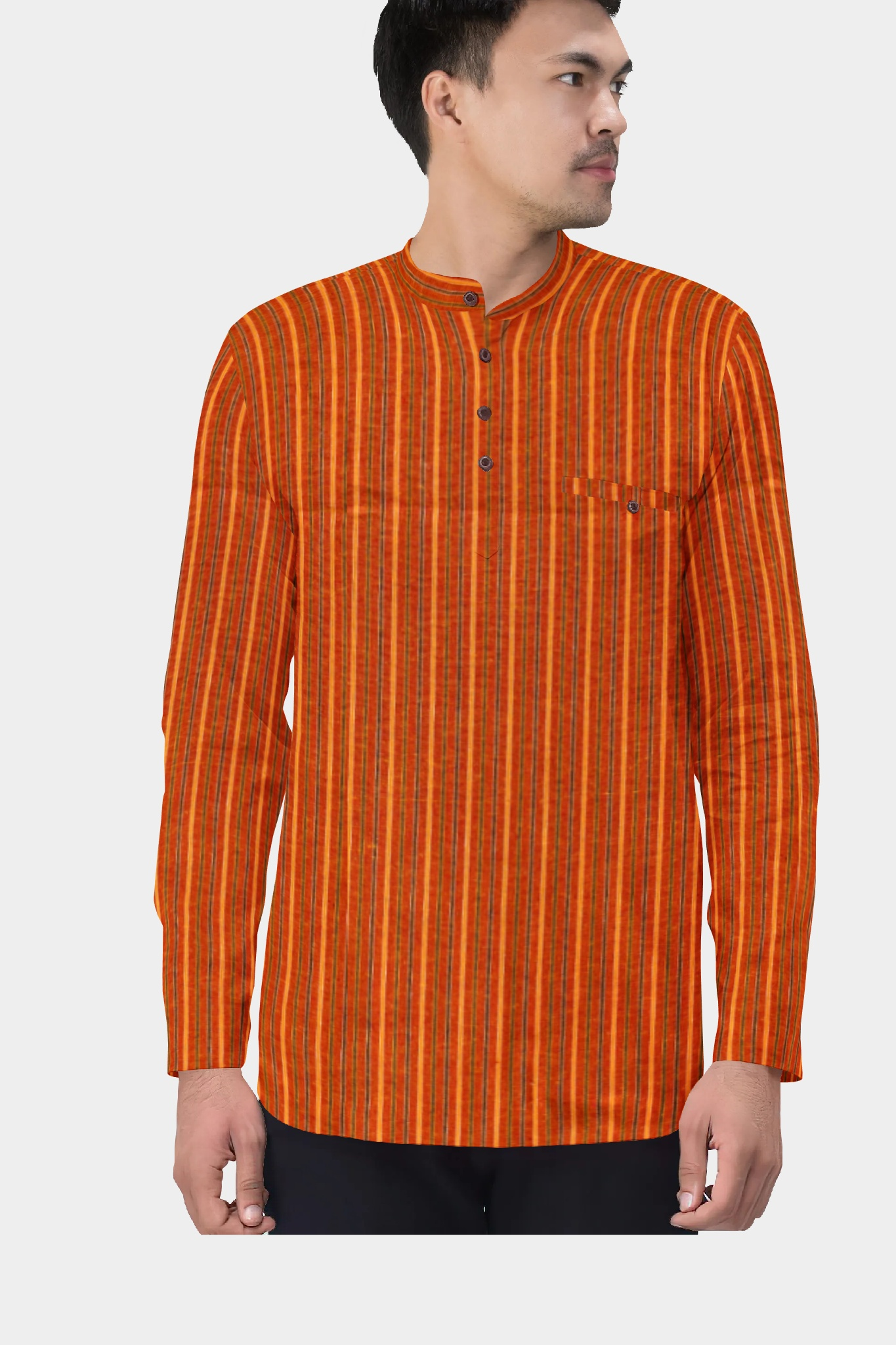 Orange Yellow Cotton Striped Short Kurta-35422