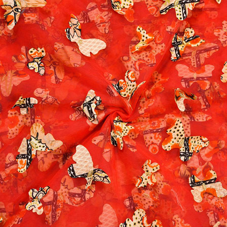 Orange Yellow Net Butterfly Embroidery Fabric-18789