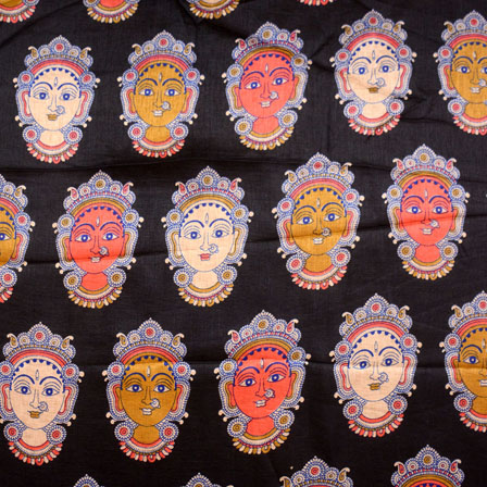 Orange-Yellow and Black Durga Devi Design Kalamkari Manipuri Silk Fabric 7564