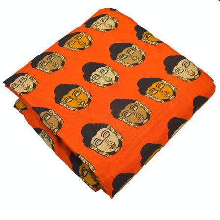 Orange-Yellow and Cream Buddha Design Kalamkari Manipuri Silk-16002