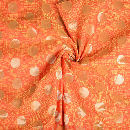 Orange-Yellow and Golden Circular Brocade Silk Fabric-8541
