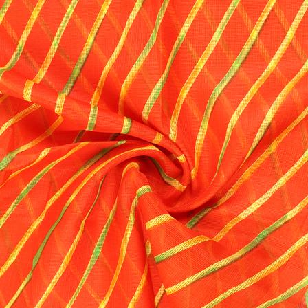 Orange-Yellow and Green Lehariya Design Kota Doria Fabric-25075