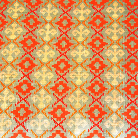 Orange and Beige Suqare Digital Print On Gray Silk Fabric-24002