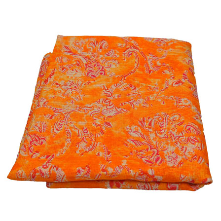 Orange and Beige  Unique Design Kota Doria Fabric-25016