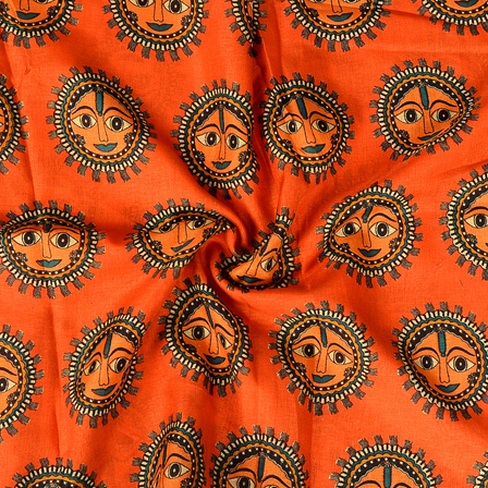 Orange and Black Durga Devi Face Design Manipuri Kalamkari Silk Fabric-16175