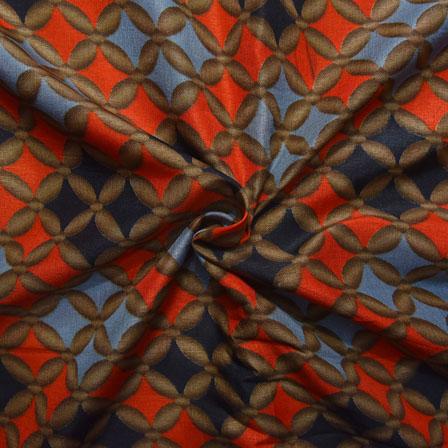 Orange and Black Floral Design Kalamkari Manipuri Silk-16106