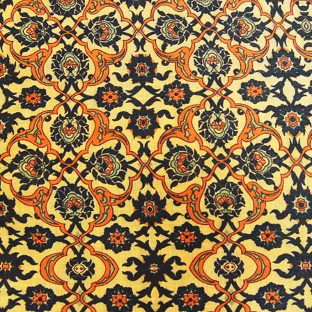 Orange and Black Floral Digital Print On Beige Silk Fabric-24018