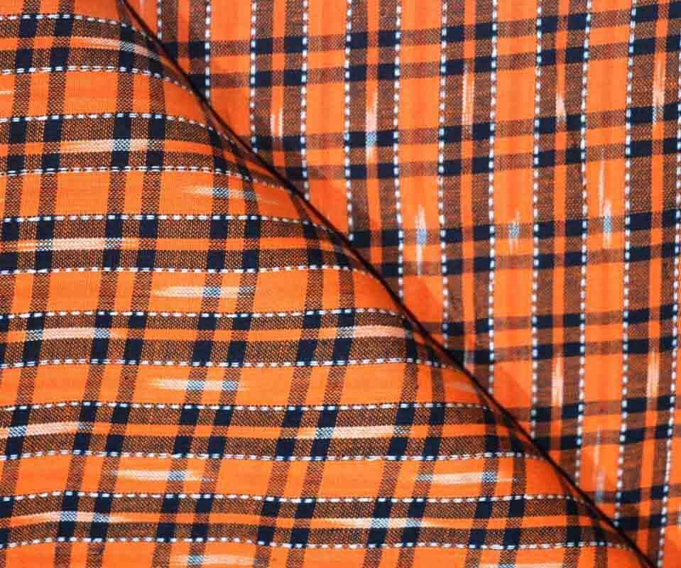Orange and Black Ikat Blouse Fabric