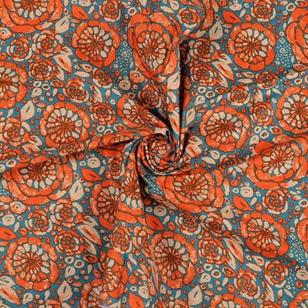 Orange and Blue Flower Design Block Print Cotton Fabric-14431