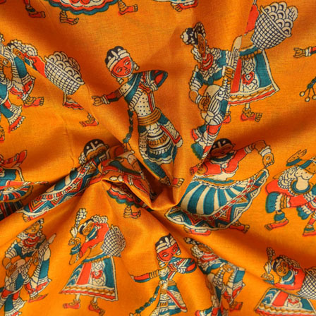Orange and Cream Dancing Mudra Pattern Kalamkari Manipuri Silk-16072