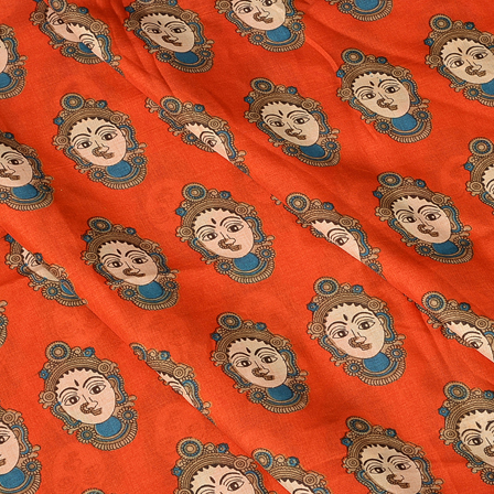 Orange and Cream Durga Devi Pattern Manipuri Kalamkari Silk Fabric-16176