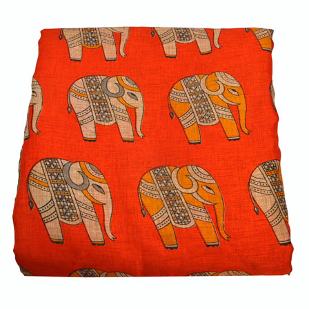 Orange and Cream Elephnat Pattern Kalamkari Manipuri Silk-16021