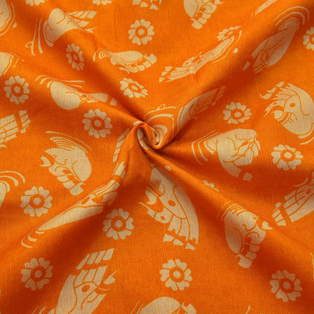 Orange and Cream Hand Mudra Pattern Kalamkari Manipuri Silk-16083