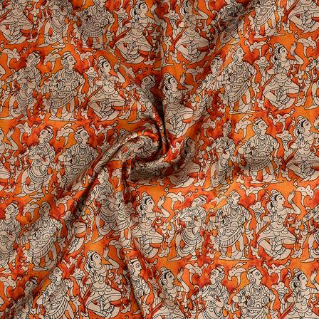 Orange and Cream Kalamkari Manipuri Silk Fabric-16354