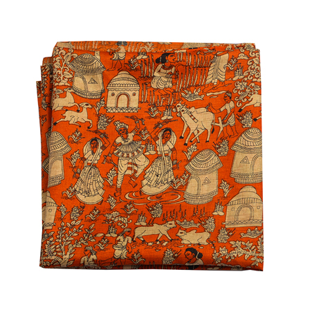 Orange and Cream Manipuri Silk Fabric-16308