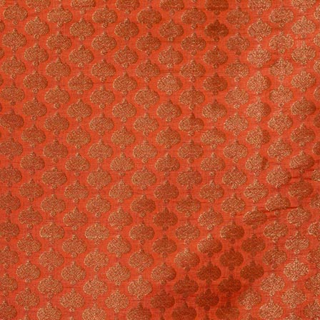 Orange and Gold Flower Pattern Brocade Fabric-4295