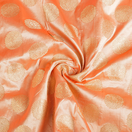 Orange and Golden Brocade Silk Fabric-8536