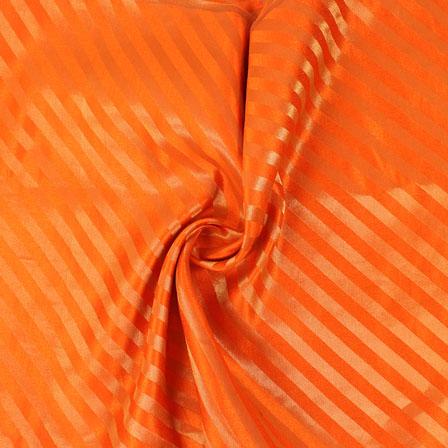 Orange and Golden Brocade Silk Fabric-8877