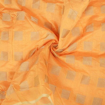 Orange and Golden Chanderi Silk Fabric-9029