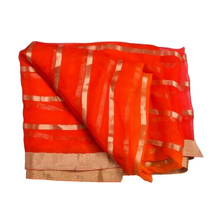 Orange and Golden Chiffon Fabric-29038