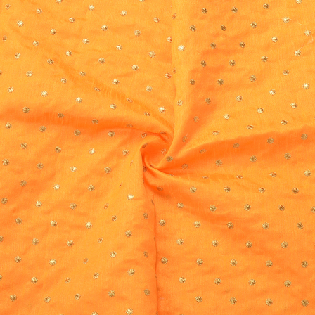 Orange and Golden Polka Dot Silk Embroidery Fabric-60161