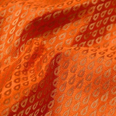 Orange and Golden Drops Design Brocade Silk Fabric-5418