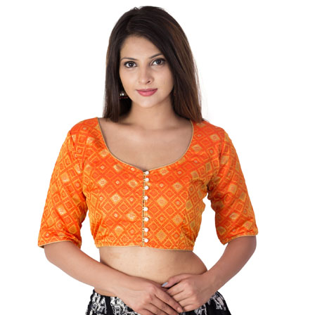 Orange and Golden Elbow Sleeve Silk Brocade Blouse-30190