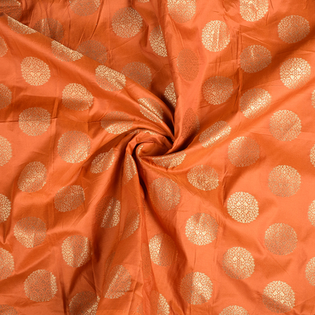 Orange and Golden Floral Brocade Silk Fabric-8539