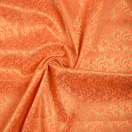 Orange and Golden Floral Brocade Silk Fabric-8560
