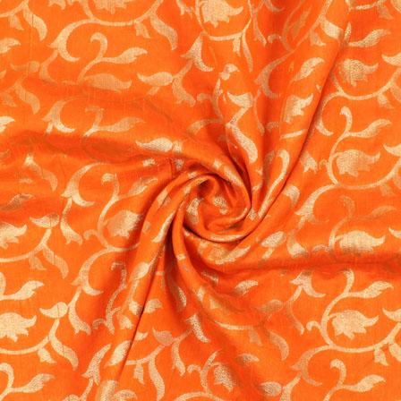 Orange and Golden Floral Brocade Silk Fabric-8892