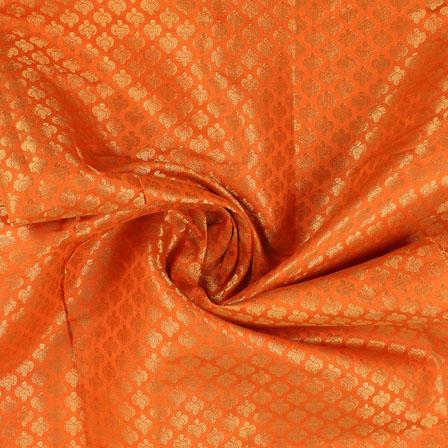 Orange and Golden Floral Brocade Silk Fabric-8940