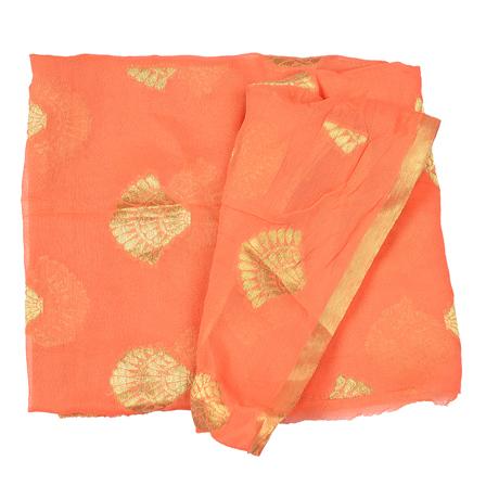 Orange and Golden Floral Design Chiffon Fabric-29033