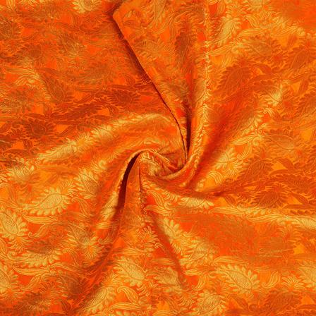 Orange and Golden Floral Kinkhab Banarasi Brocade Fabric-8512