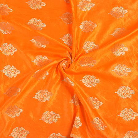 Orange and Golden Floral Silk Satin Brocade Fabric-8689