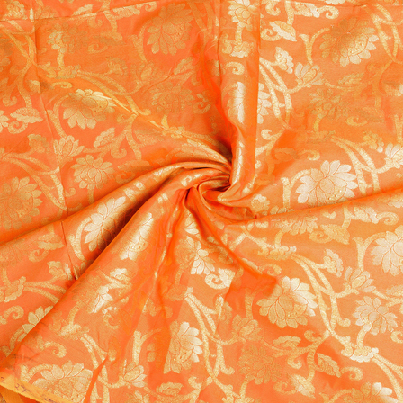 Orange and Golden Flower Brocade Silk Fabric-8528