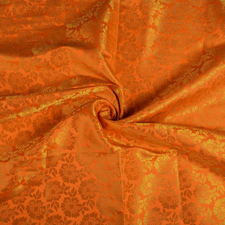Orange and Golden Flower Brocade Silk Fabric-8549