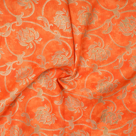 Orange and Golden Flower Design Kota Doria Fabric-25086