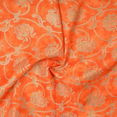 Orange and Golden Flower Design Kota Doria Fabric-25086