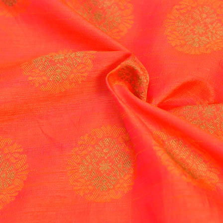 Orange and Golden Flower Design Soft Brocade Silk Fabric-8113