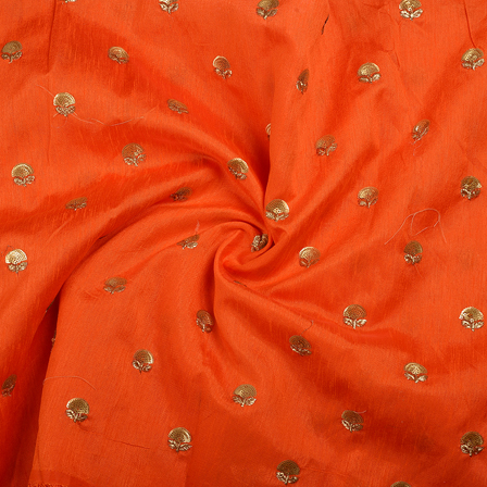 Orange and Golden Flower Malbari Embroidery Silk-60705