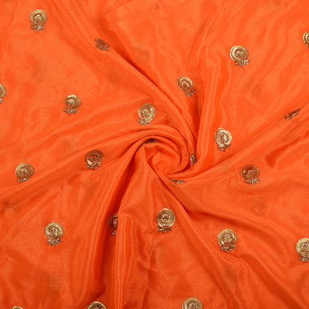 Orange and Golden Flower Malbari Embroidery Silk-60708