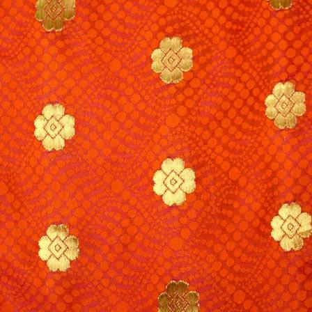 Orange and Golden Flower Pattern Chanderi Indian Fabric-4380